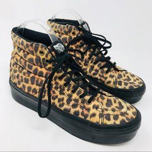 25e86fdaec Vans · Vans Sk8-Hi leopard print platform high top shoes